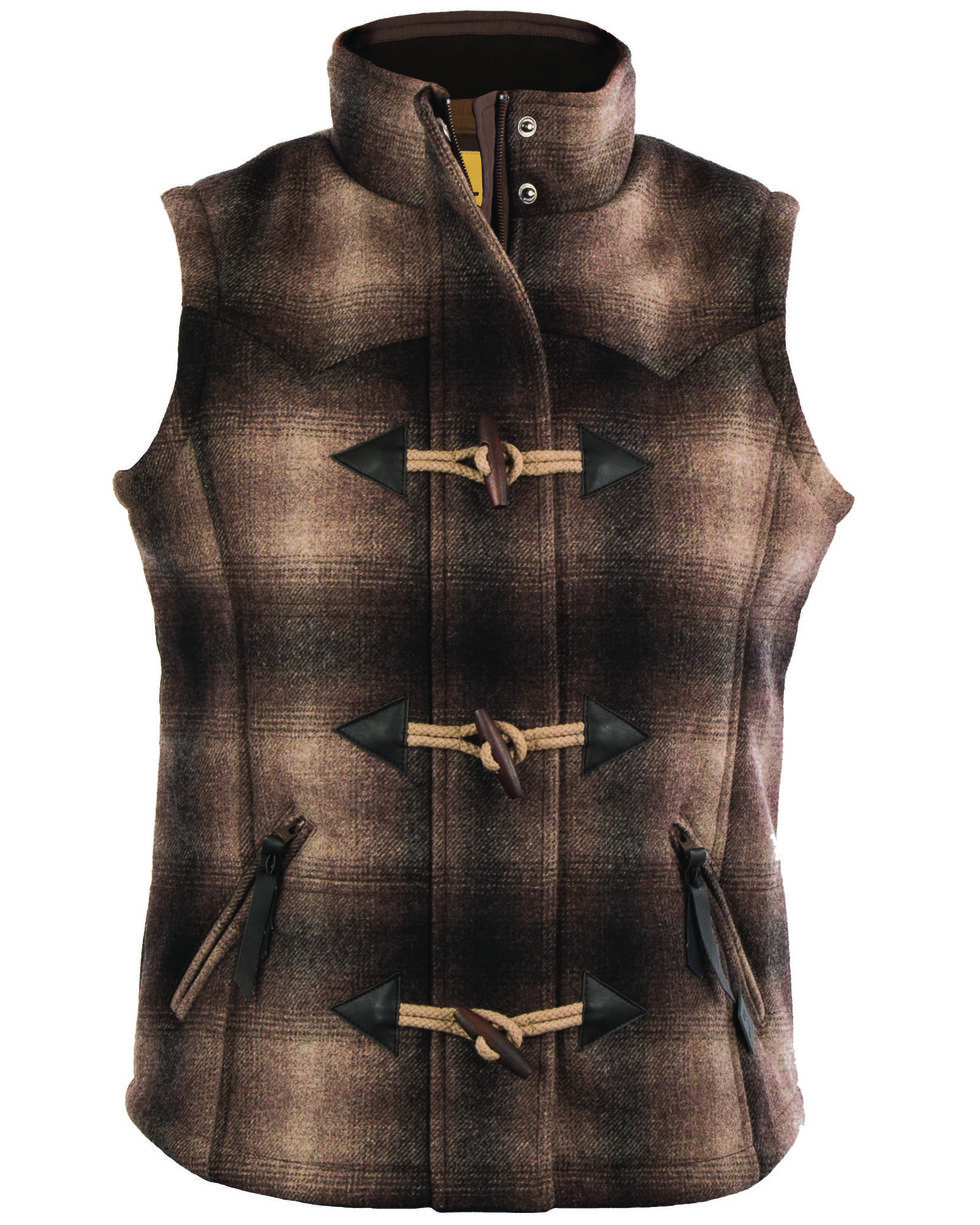 STS Ranchwear Women's Willow Plaid Vest, Brown, hi-res