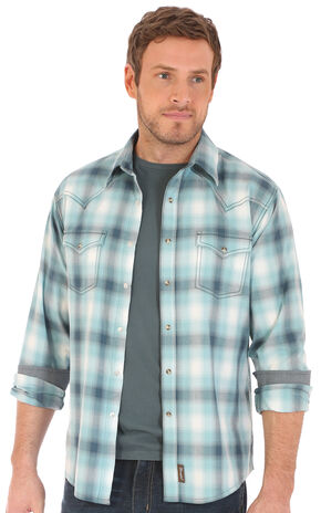 Wrangler Retro Men's Plaid 2 Pocket Long Sleeve Snap Shirt, Teal, hi-res