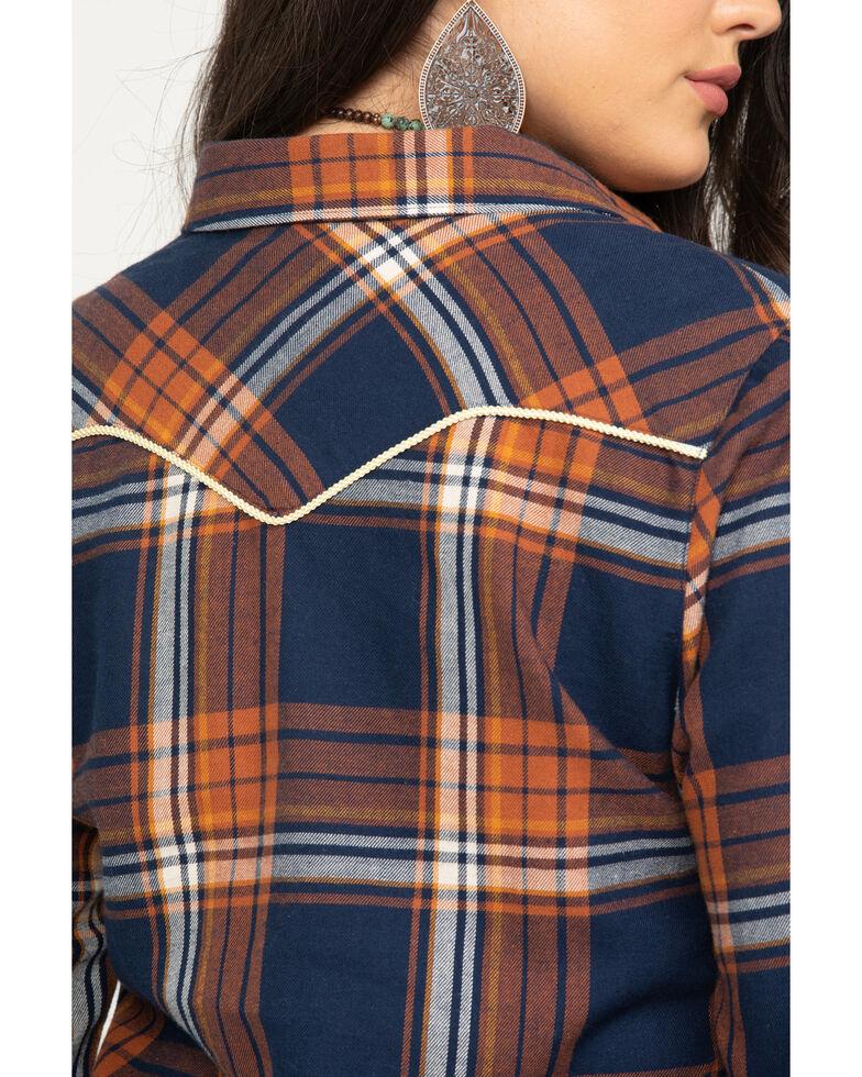 Shyanne Life Women's Navy Button Down Flannel Top, Navy, hi-res