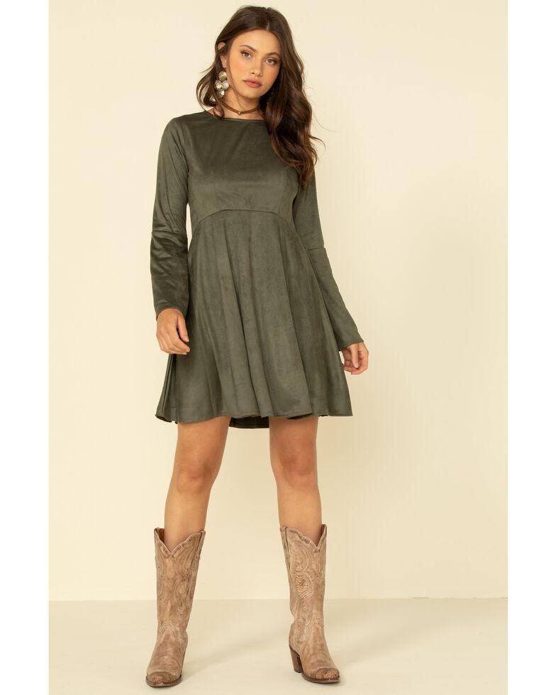 Wrangler Women's Olive Bell Sleeve Dress, Olive, hi-res