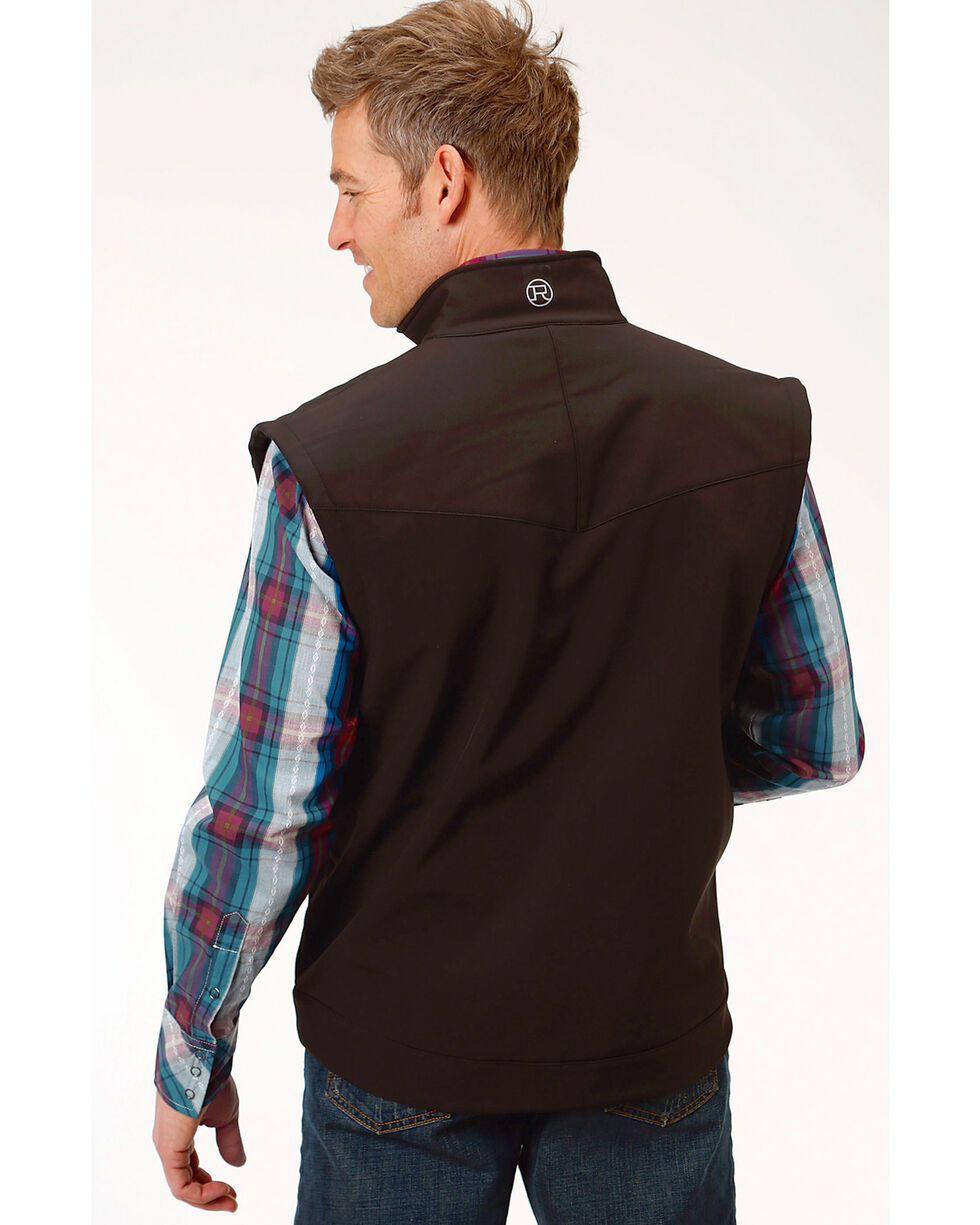 Roper Men's Concealed Carry Softshell Vest, Black, hi-res