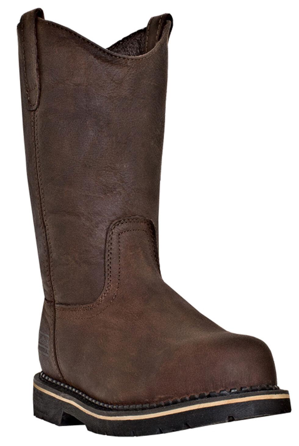 McRae Men's Ruff Rider Wellington Work Boots - Steel Toe , Dark Brown, hi-res