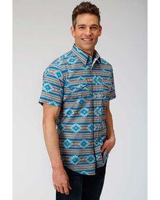 West Made Men's Santa Fe Aztec Print Short Sleeve Western Shirt , Blue, hi-res