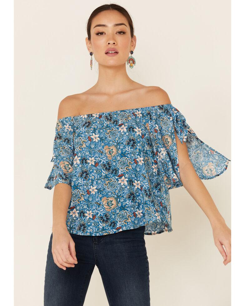 Shyanne Women's Floral Print Off Shoulder Short Sleeve Top, Blue, hi-res