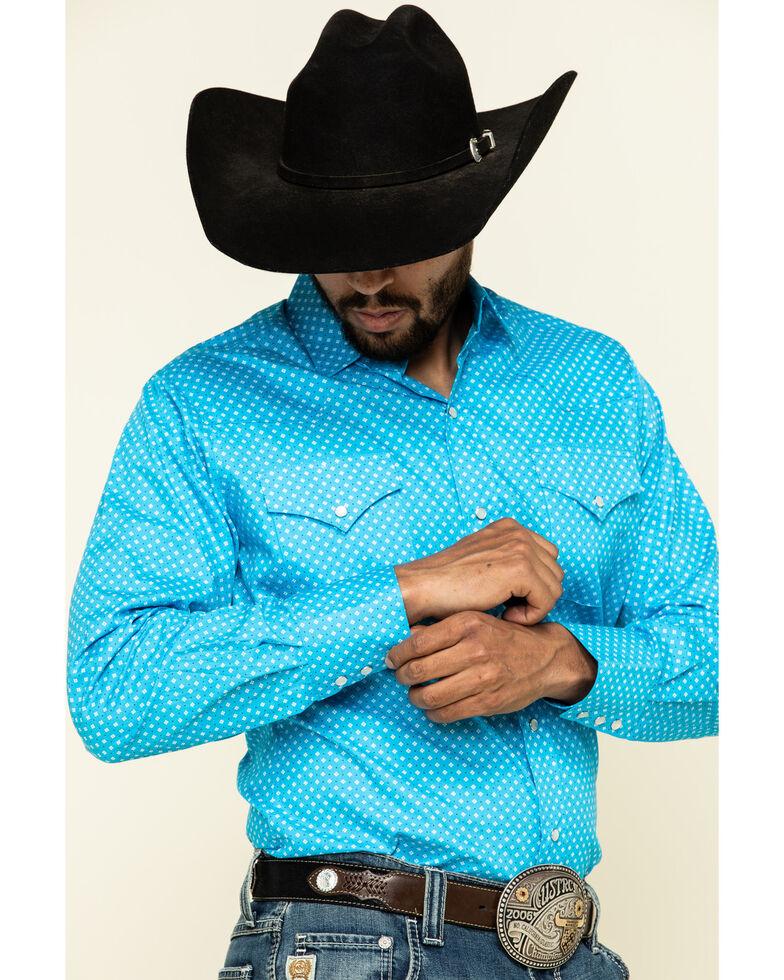 Ely Walker Men's Multi Small Geo Print Long Sleeve Western Shirt , Turquoise, hi-res