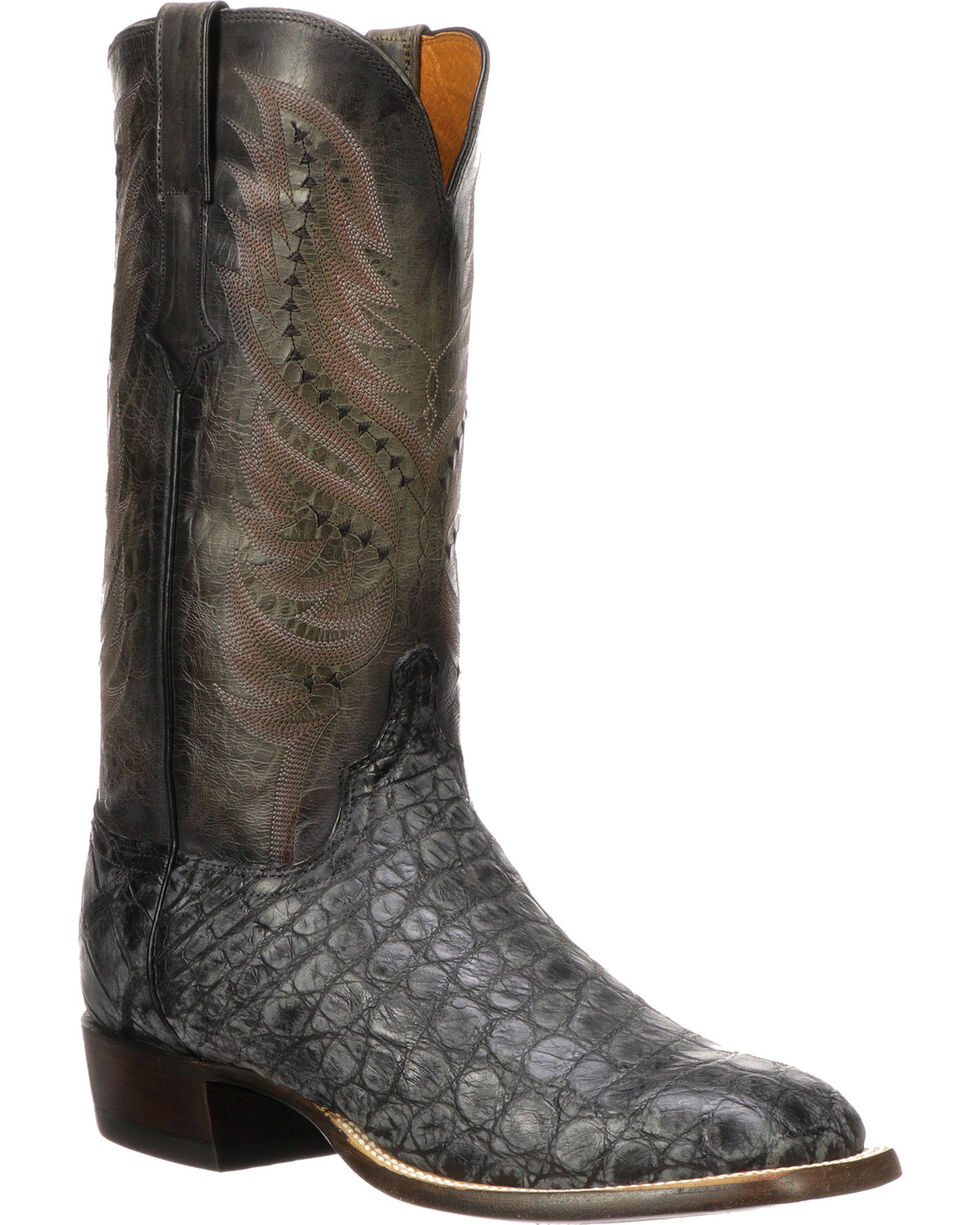 Lucchese Men's Handmade Troy Black Giant Gator Western Boots - Square Toe, Black, hi-res
