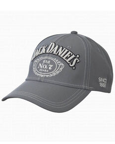 Jack Daniels Men's Grey Structured Ball Cap , Grey, hi-res