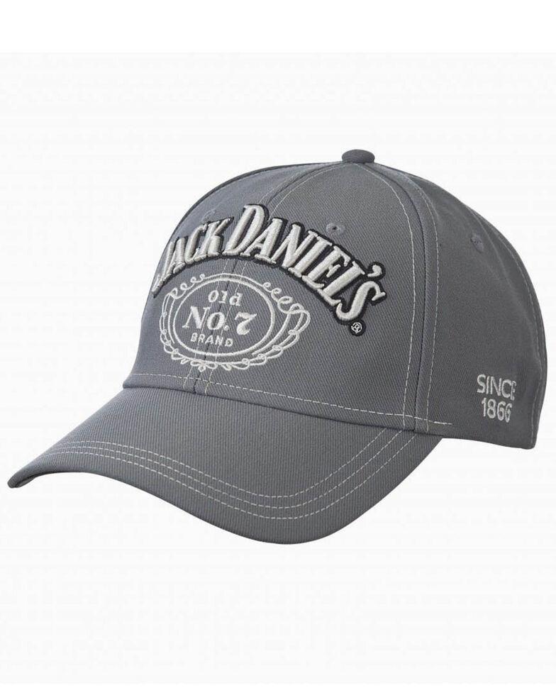 Jack Daniels Men's Grey Structured Ball Cap , Grey, hi-res