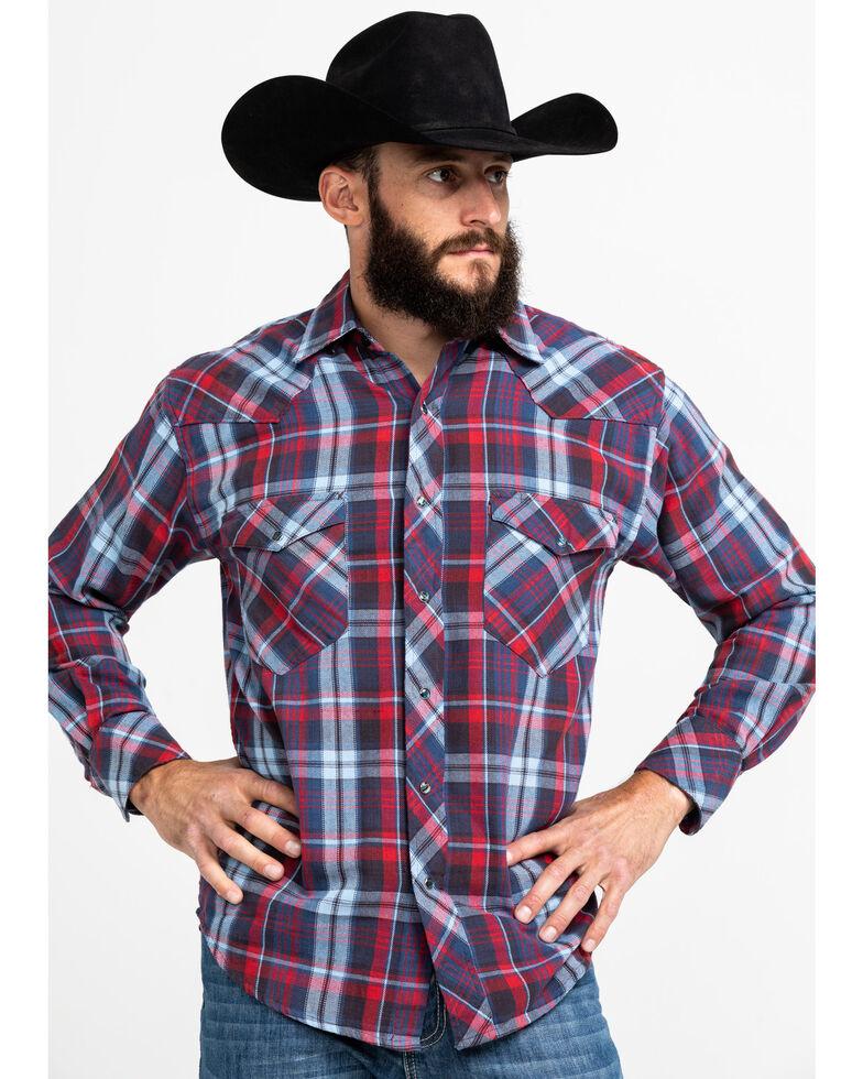 Resistol Men's Ray Hubbard Plaid Long Sleeve Western Shirt , Red, hi-res