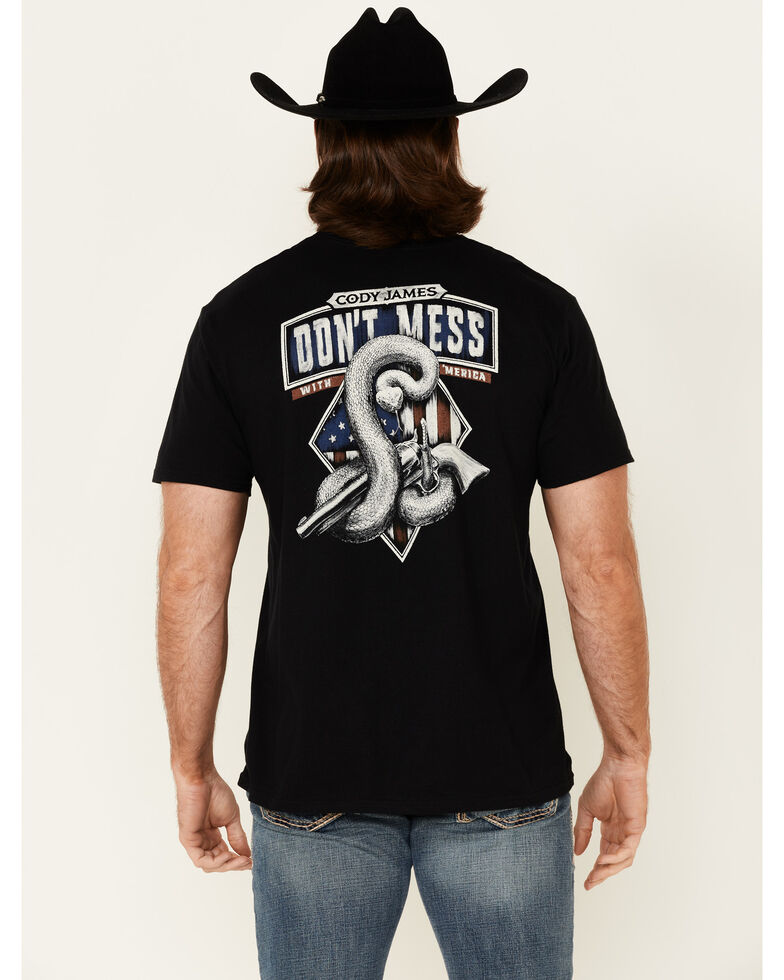 Cody James Men's Don't Mess With 'Merica Back Graphic Short Sleeve T-Shirt , Black, hi-res
