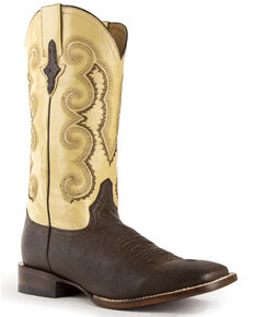 Ferrini Men's Morgan Western Boots - Wide Square Toe, Chocolate, hi-res