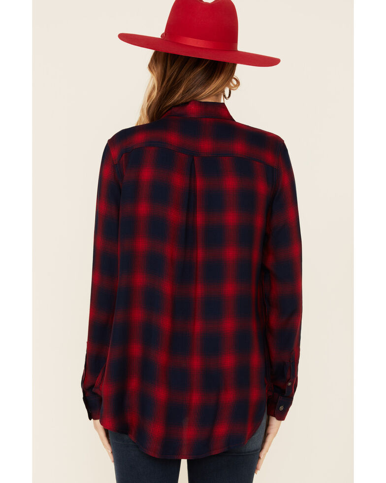 Flag & Anthem Women's Nora Ombre Plaid Long Sleeve Button-Down Western Core Shirt , Red, hi-res