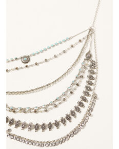 Shyanne Women's Shimmer Concho Multi Layered Silver Necklace, Silver, hi-res