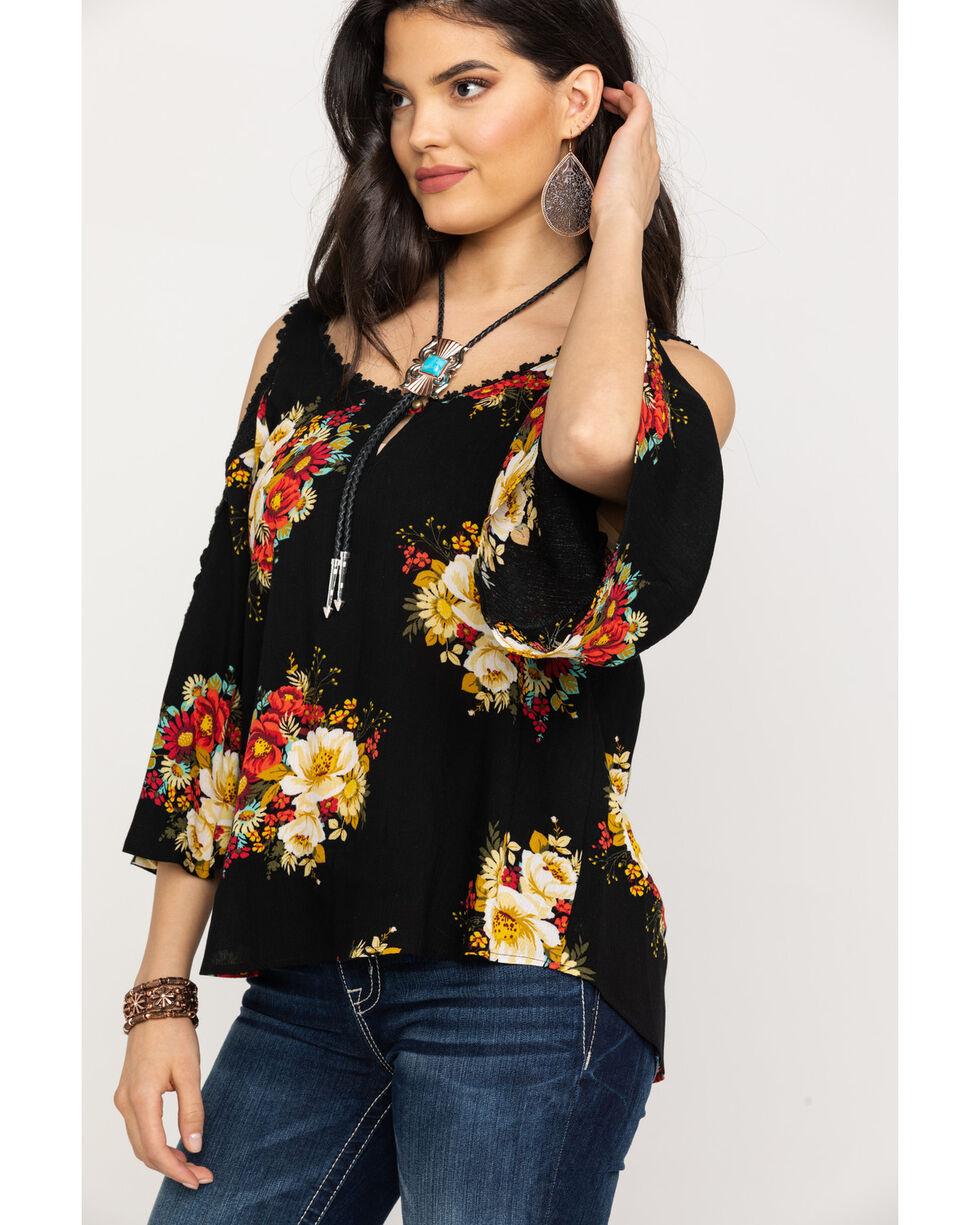 Luna Chix Women's Black Floral Bouquet Cold Shoulder Top, Black, hi-res