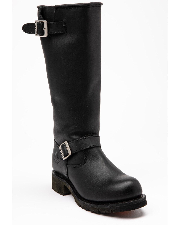 "- Black Leather Men's ADTEC 1443 Engineer Boots 16/"" NEW"