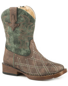 Roper Toddler Boys' Cross Cut Cowboy Boots - Square Toe, Brown, hi-res