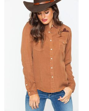 Rough Stock by Panhandle Women's Embroidered Desert Cactus Western Shirt, Brown, hi-res
