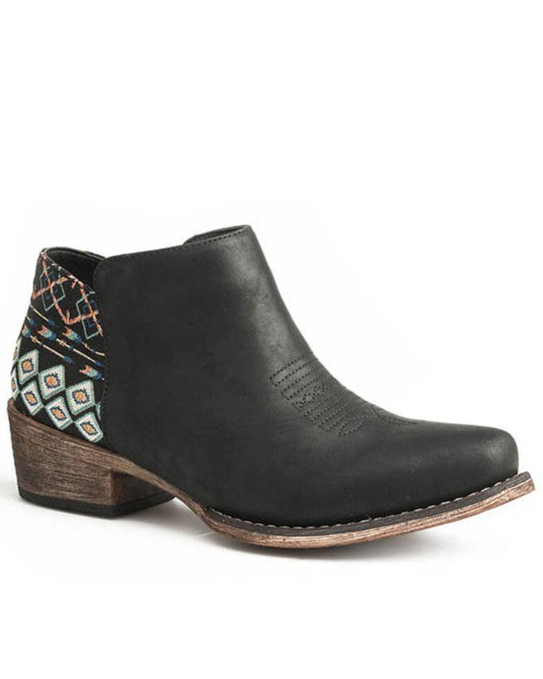 Roper Women's Black Sedona Aztec Heel Fashion Booties - Snip Top, Black, hi-res