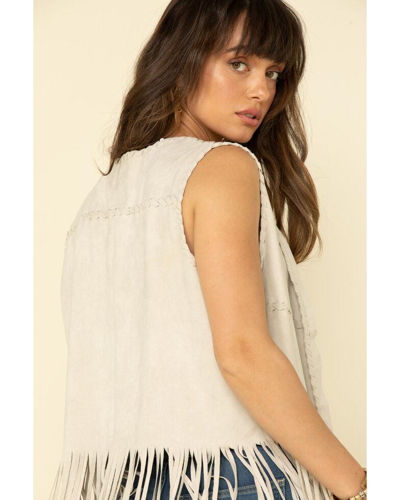 Fornia Women's Stone Faux Suede Long Fringe Vest, Stone, hi-res