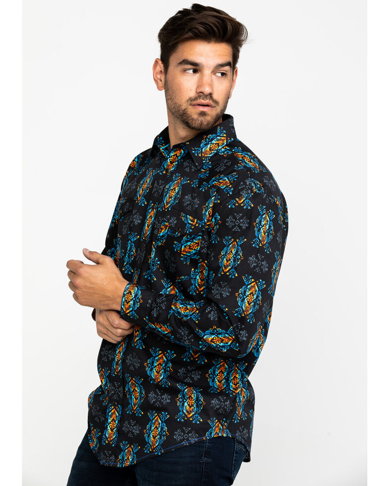 Rough Stock by Panhandle Men's Taconic Aztec Print Long Sleeve Western Shirt , Black, hi-res