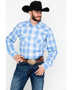 Wrangler Retro Men's Plaid Long Sleeve Western Shirt , Blue, hi-res