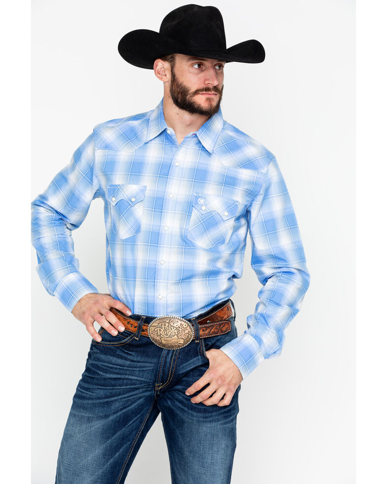 7477f2a7 Zoomed Image Wrangler Retro Men's Plaid Long Sleeve Western Shirt , Blue,  hi-res