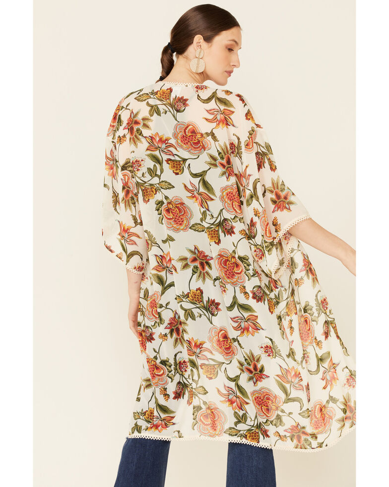 Luna Chix Women's Ivory Floral Boho Open-Front Kimono , Ivory, hi-res