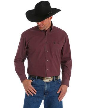 George Strait by Wrangler Men's Wine Adjustable Long Sleeve Western Shirt - Big & Tall, Wine, hi-res