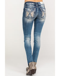 Miss Me Women's Butterfly Flap Pocket Skinny Jeans, Dark Blue, hi-res