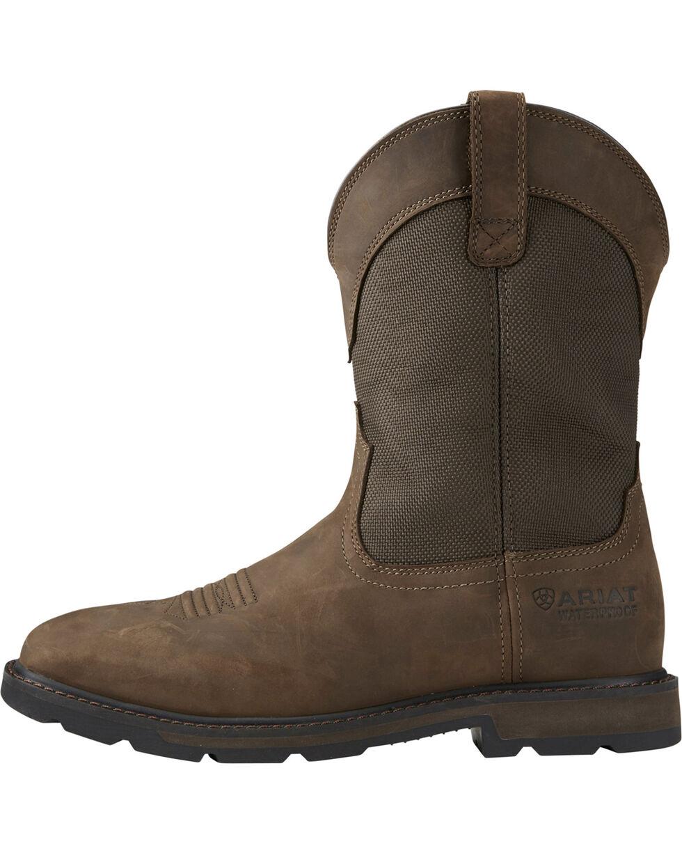 Ariat Groundbreaker Waterproof Work Boots - Steel Toe, Brn Bomber, hi-res