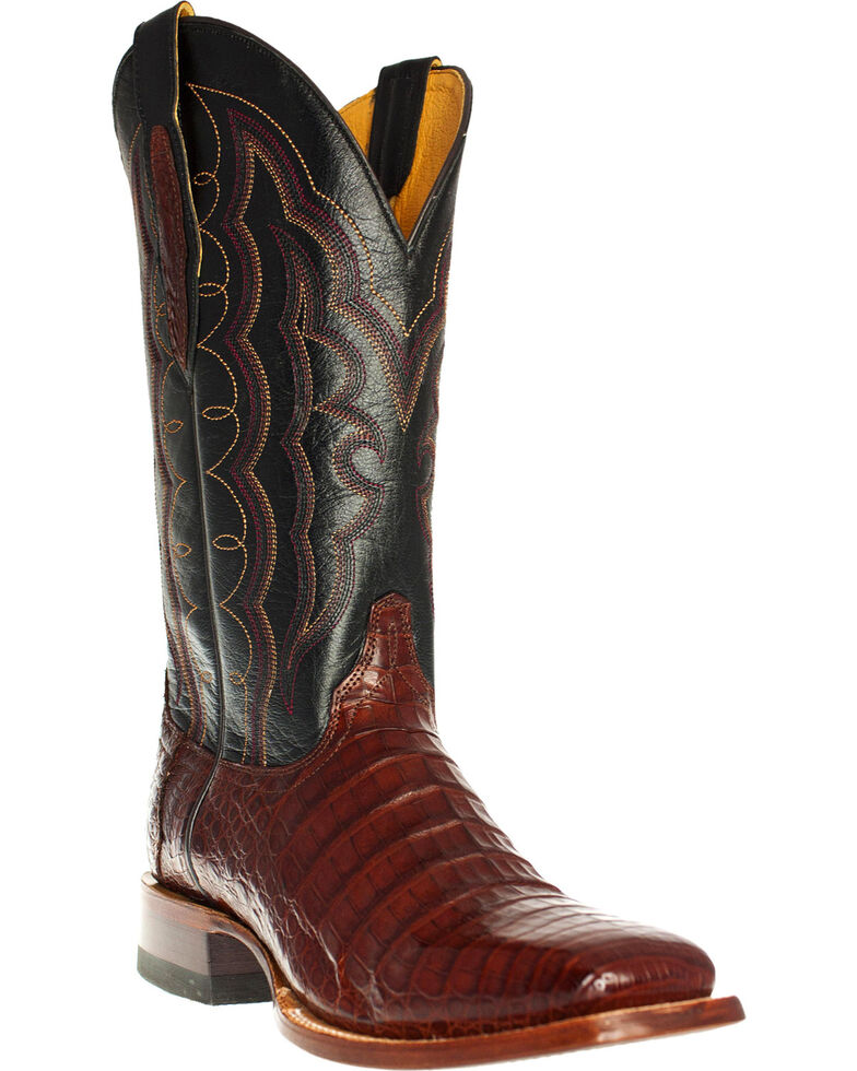 Cinch Men's Caiman Belly Western Boots - Square Toe, Redwood, hi-res
