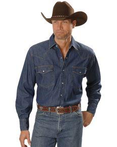 Ely Walker Men's Denim Long Sleeve Western Shirt, Denim, hi-res