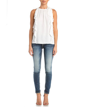 Miss Me Women's Catch The Wave Top , White, hi-res