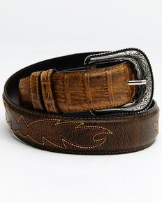 Cody James Men's Caiman Embroidered Belt, Brown, hi-res
