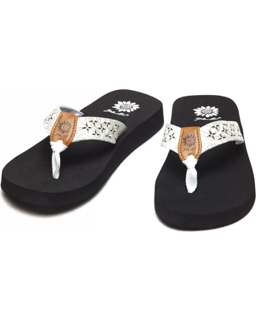 Yellow Box Women's White Benji Laser Cut Sandals , White, hi-res