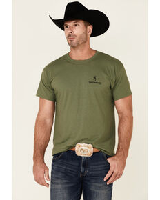 Browning Men's Army Green Stars & Stripes Shield Graphic Short Sleeve T-Shirt , Green, hi-res