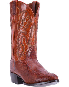 Dan Post Men's Cognac Pugh Ostrich Leather Boots - Medium Toe , Cognac, hi-res