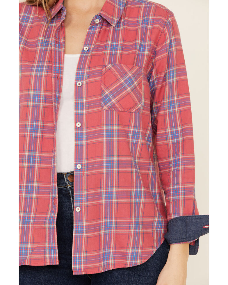 Flag & Anthem Women's Meriden Multi Plaid Long Sleeve Button-Down Western Core Shirt , Pink, hi-res