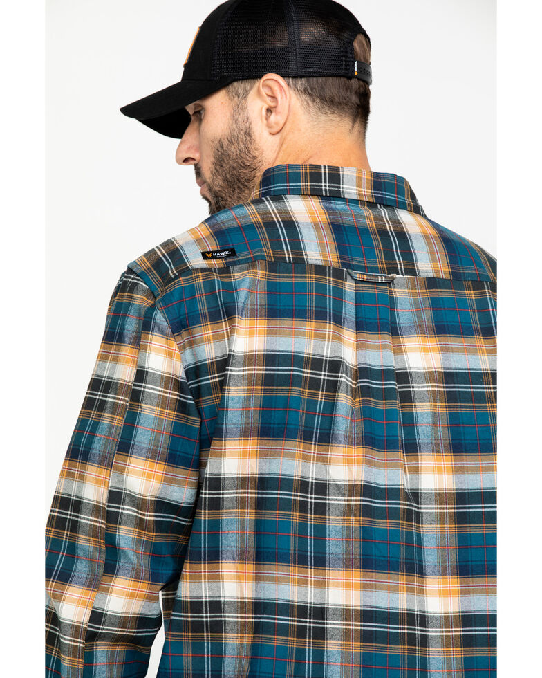 Hawx Men's Light Blue Fashion Stretch Plaid Flannel Long Sleeve Work Shirt , Blue, hi-res
