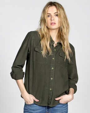 MM Vintage Women's Olive Embroidered Button Front Top , Olive, hi-res
