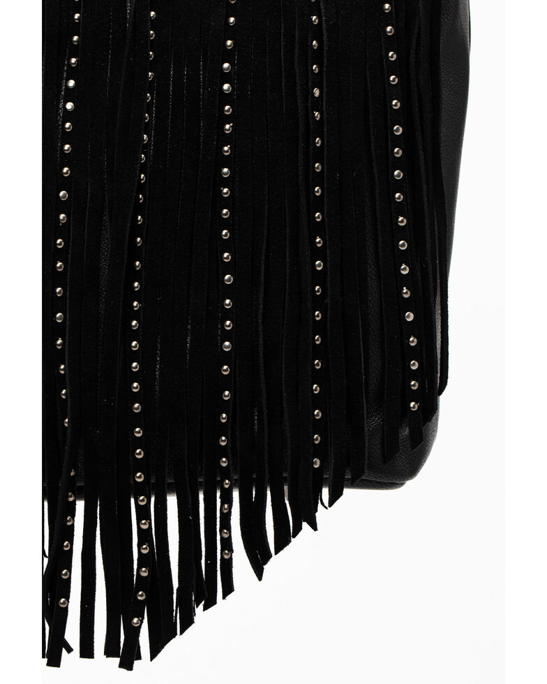 Shyanne Women's Black Fringe Satchel Bag, Black, hi-res