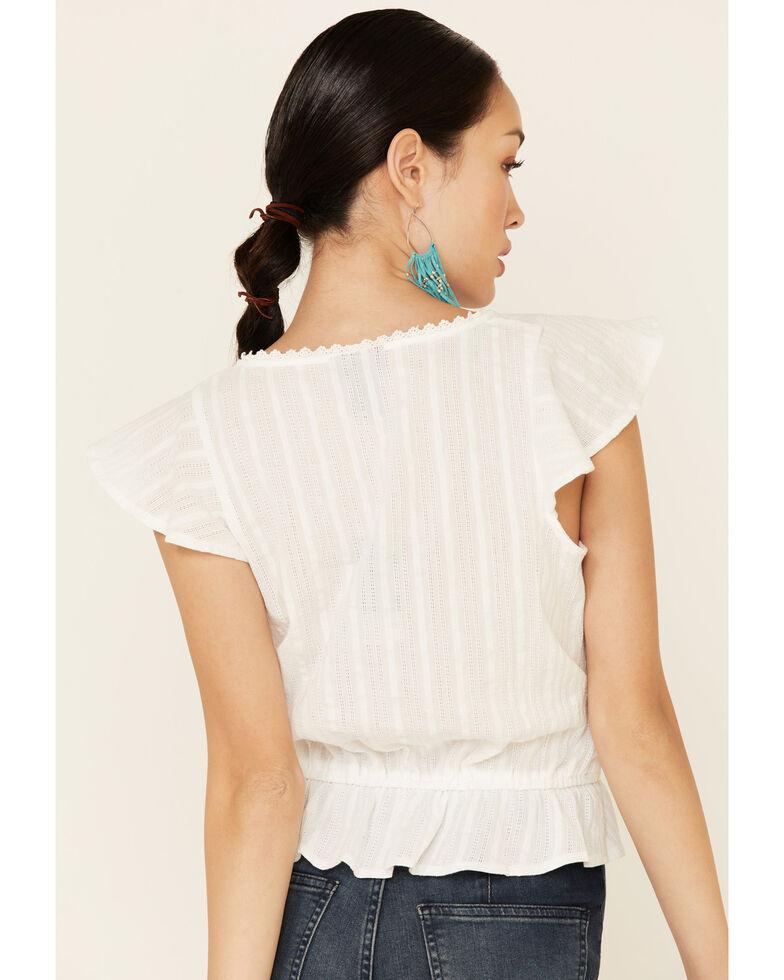 Wrangler Women's White Eyelet Ruffle Short Sleeve Top , White, hi-res