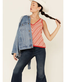 Wrangler Women's Red Striped Sweater Knit Tank Top , Red, hi-res