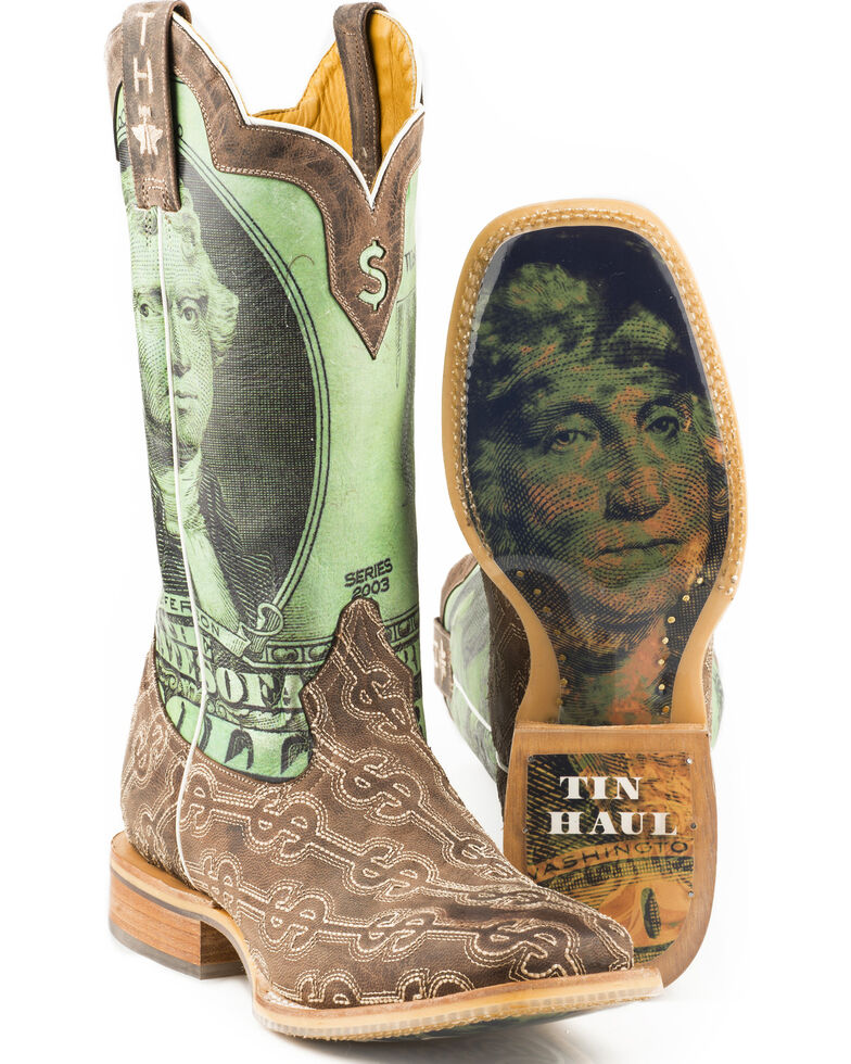 Tin Haul Men's Duece Take The Money And Run Cowboy Boots - Square Toe, Brown, hi-res