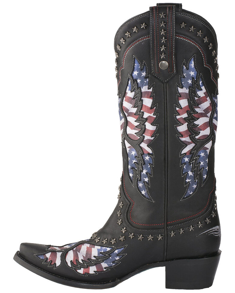 Lane Women's Old Glory Western Boots - Snip Toe, Black, hi-res