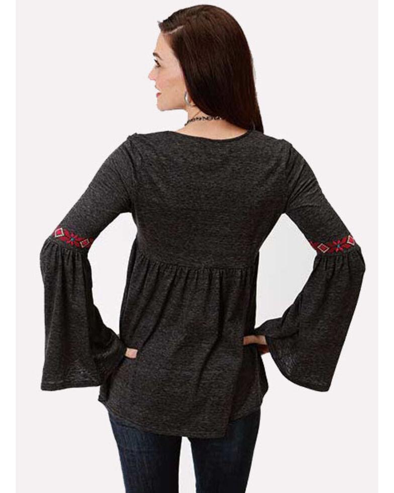 Studio West Women's Bell Sleeve Embroidered Top, Black, hi-res