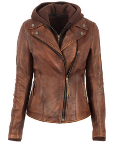STS Ranchwear Women's Brown Wanderlust Moto Leather Jacket, Brown, hi-res