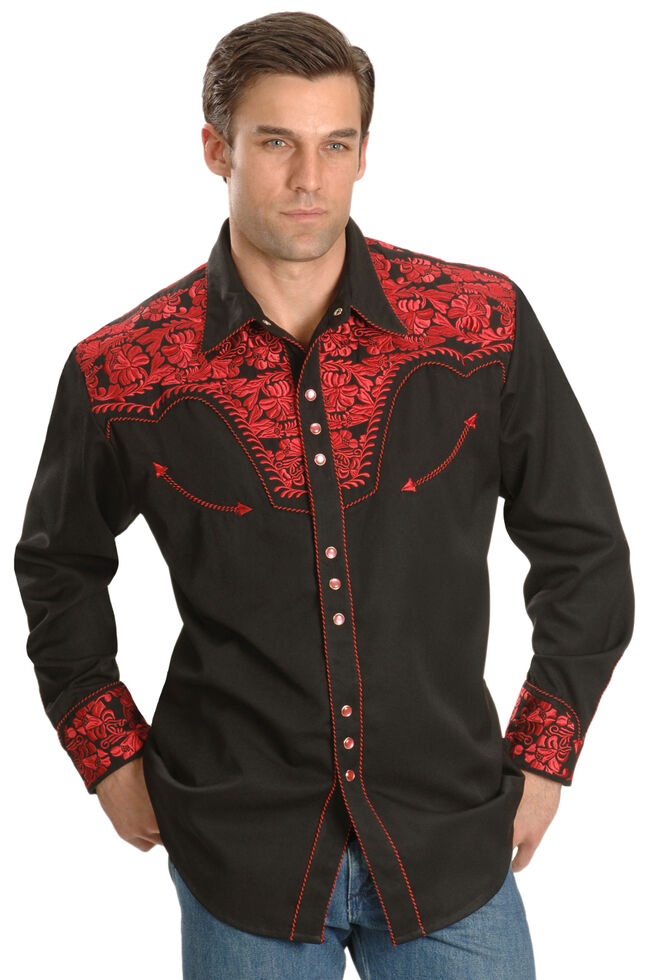 Scully Crimson Floral Embroidery Retro Western Shirt, Dark Red, hi-res