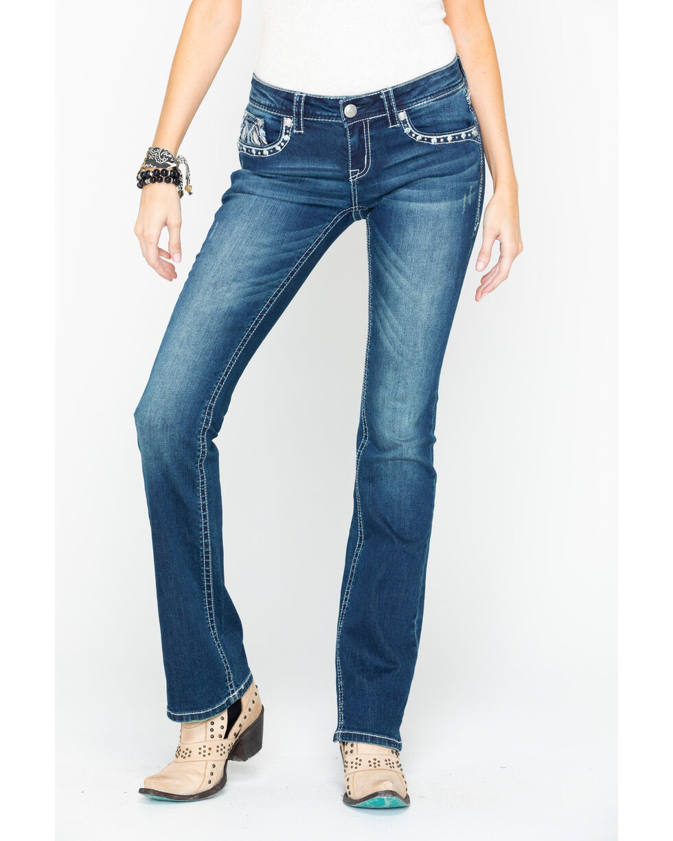 Grace In LA Women's Think Stitch Feather Embroidered Boot Jeans , Indigo, hi-res