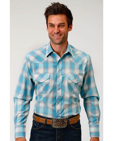 Roper Men's Turquoise Plaid Long Sleeve Western Snap Shirt, Turquoise, hi-res